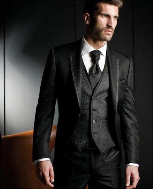 Luxury Men's Wedding Suit Men's Pioneer Slim Suit Men's Clothing Business Dress Ball Party Classic Black (Jacket + Pants + Vest)
