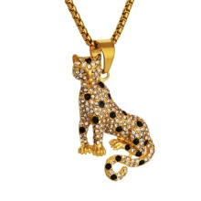 2019 New Goofan Hiphop Drilling Leopard Pendant Necklace High Quality Stainless Steel Fashion Jewelry For Men Women Gift STN2515(China)