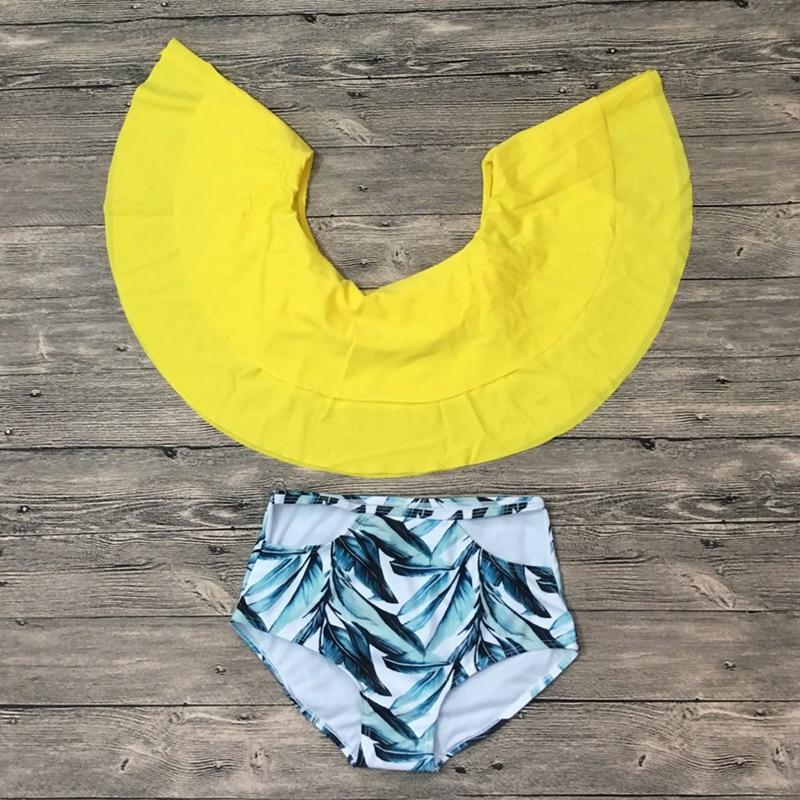 2018 Women Padded Swimsuit Lace Up Ruffle Top OFF The Shoulder Bikini Girl Swimwear High Waist Bikini Thong Beach Swimming Set 1