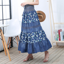 Woman Vintage Long Denim Skirt 2019 Spring Summer High Waist Floral Print Bohemian Elegant Office Lday Maxi