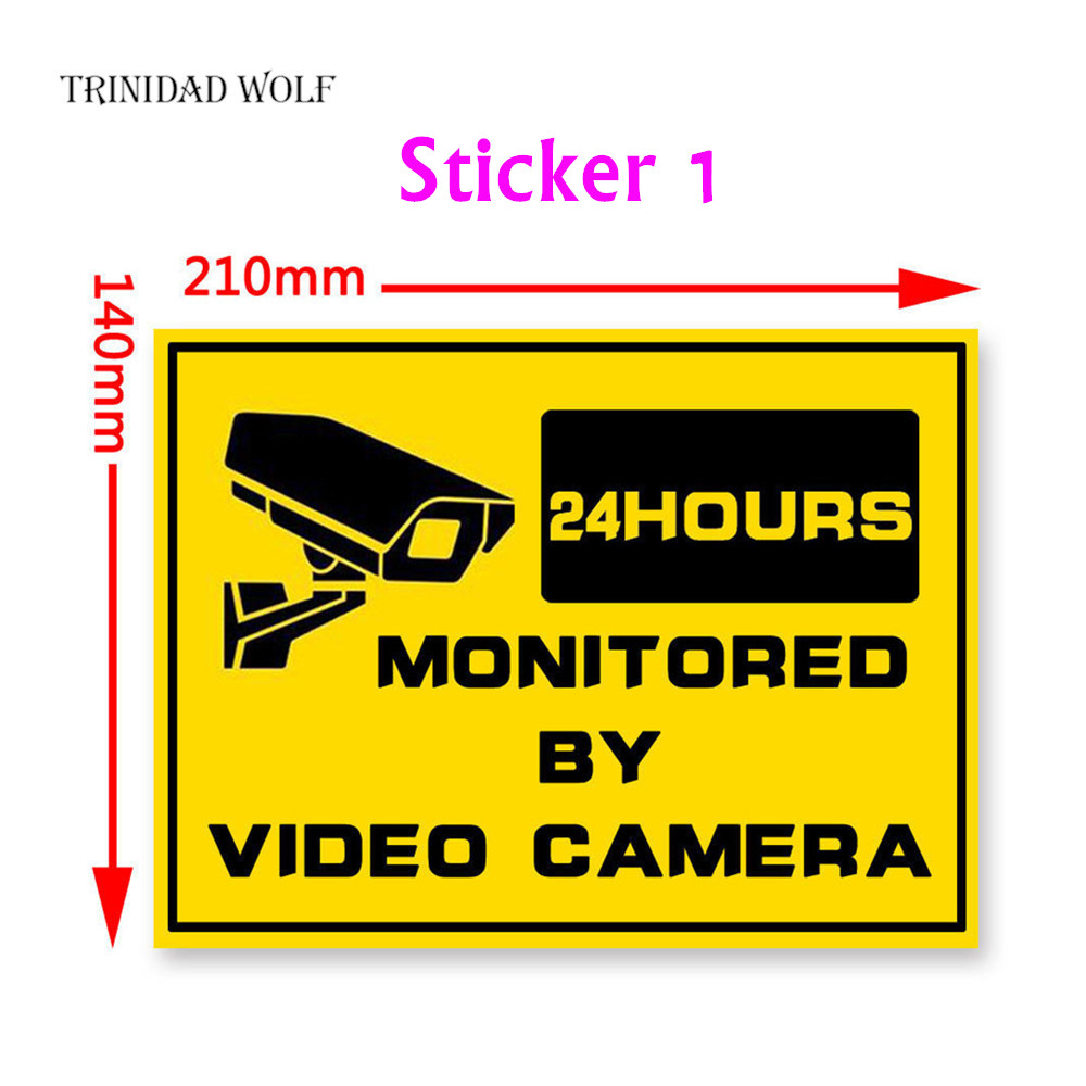 Surveillance Warning Sticker Monitoring Warning Sign Security Warning Labels Video Camera Alarm Sticker Mark