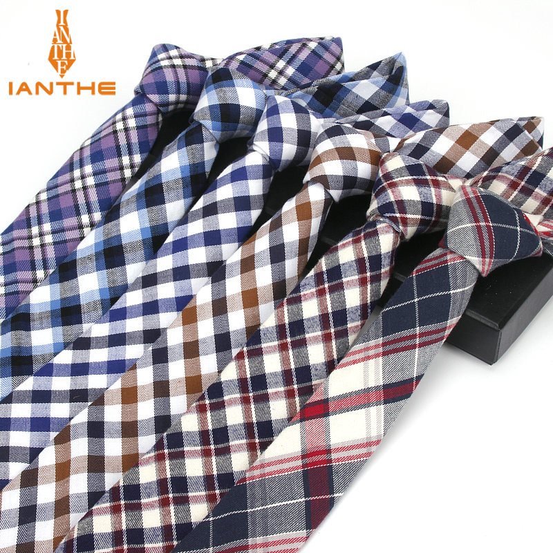 2018 Brand New Men's Business Casual Ties Cotton Plaid Narrow Slim Necktie British Gentleman Wedding Corbatas Gravatas Neck Tie
