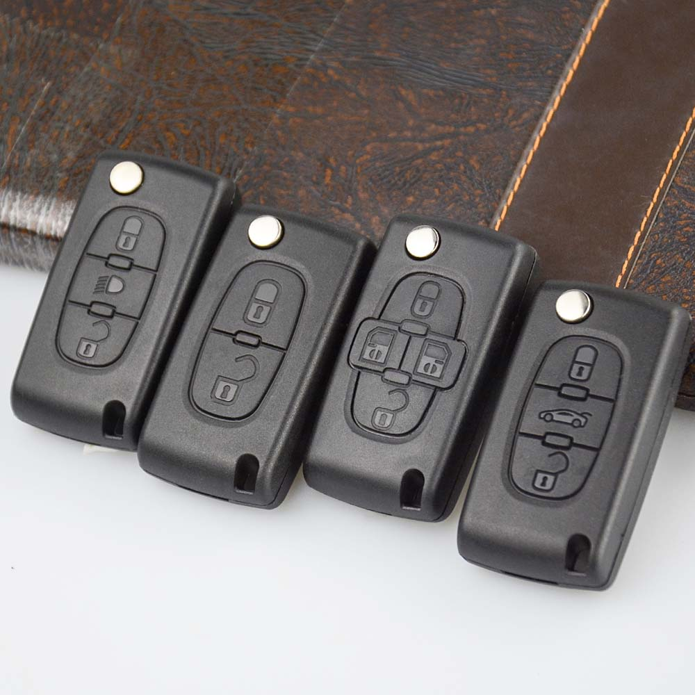 OkeyTech 2 3 4 Button Remote Car <font><b>Key</b></font> for <font><b>Peugeot</b></font> 207 307 <font><b>308</b></font> 407 Citroen C2 C3 C4 C5 Flip <font><b>Key</b></font> Case Shell CE0523 CE0536 HU83 VA2 image