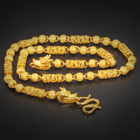 Unique Hollow Column Chain Necklace Yellow Gold Filled Cool Mens Necklace Beads Chain With Dragon Head