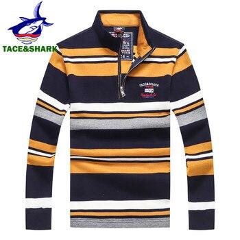 TACE & SHARK бренд мужской полосатой половина молния акулы свитеры с вышивкой Homme зимние Повседневное деловой пуловер Костюмы много цветов