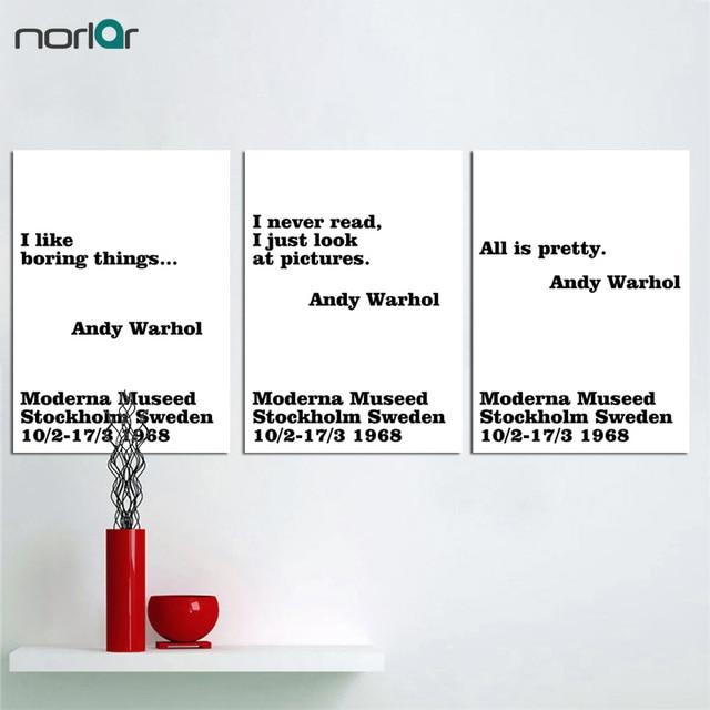 Affiche murale de peinture toile noire blanche   Typographie moderne nordique minimaliste Andy Warhol citation de vie, affiche Art imprimée, décor de maison
