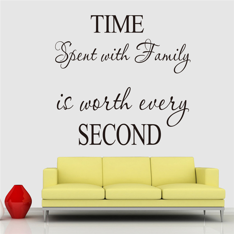 living room vinyl wall art time spent with family diy vinyl wall stickers letters for 23671