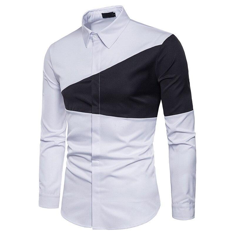 Mens Manches Couleur Couture Chemisiers À Camisa Hiver Deux Revers Mode Hommes Robe Chemise Longues Triangle Slim 2 Automne Couleurs QrdCxtsh