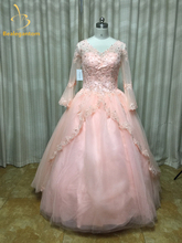 Bealegantom Long Sleeves Ball Gown Quinceanera Dresses 2019 Beaded Appliques Sweet 16 Dress For 15 Years Vestidos De Anos