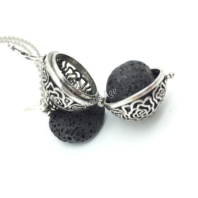 10pcs silver flower aromatherapy diffuser pendent locket with lava 10pcs silver flower aromatherapy diffuser pendent locket with lava stone essential oil diffuser pendant necklace perfume locket in pendant necklaces from aloadofball Gallery
