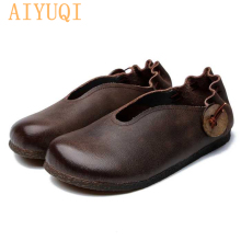 AIYUQI  women flat shoes 2019 spring new genuine leather casual loafers,Retro mom soft bottom