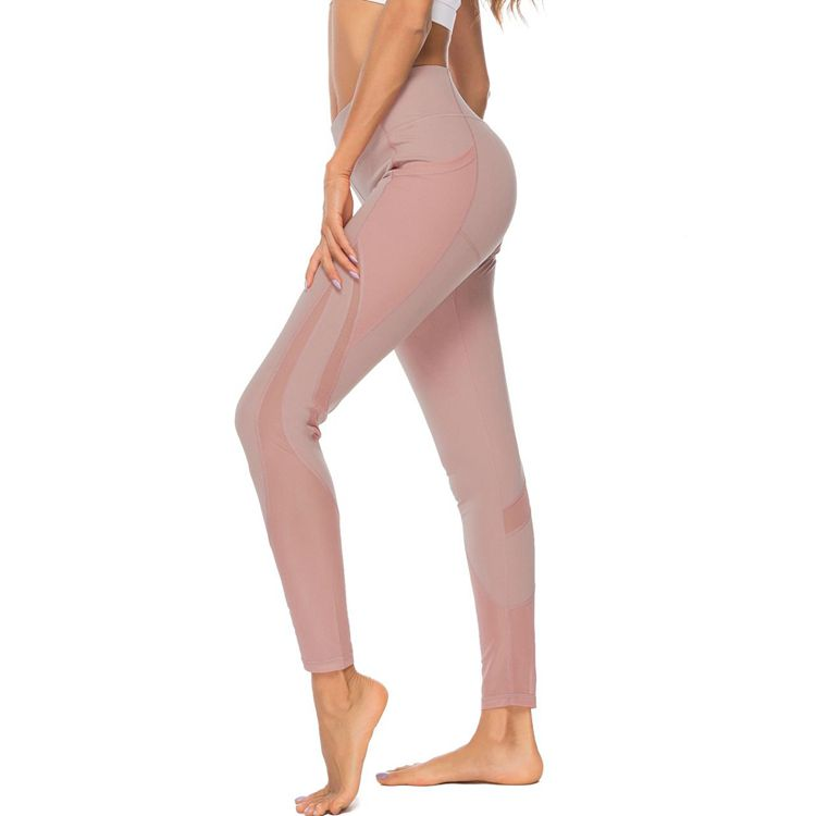 Breathable Side Quick Dry  Mesh Solid Color Sexy Elastic Hip Fitness Workout Push Up High Waist Patchwork Leggings Mujer Verano
