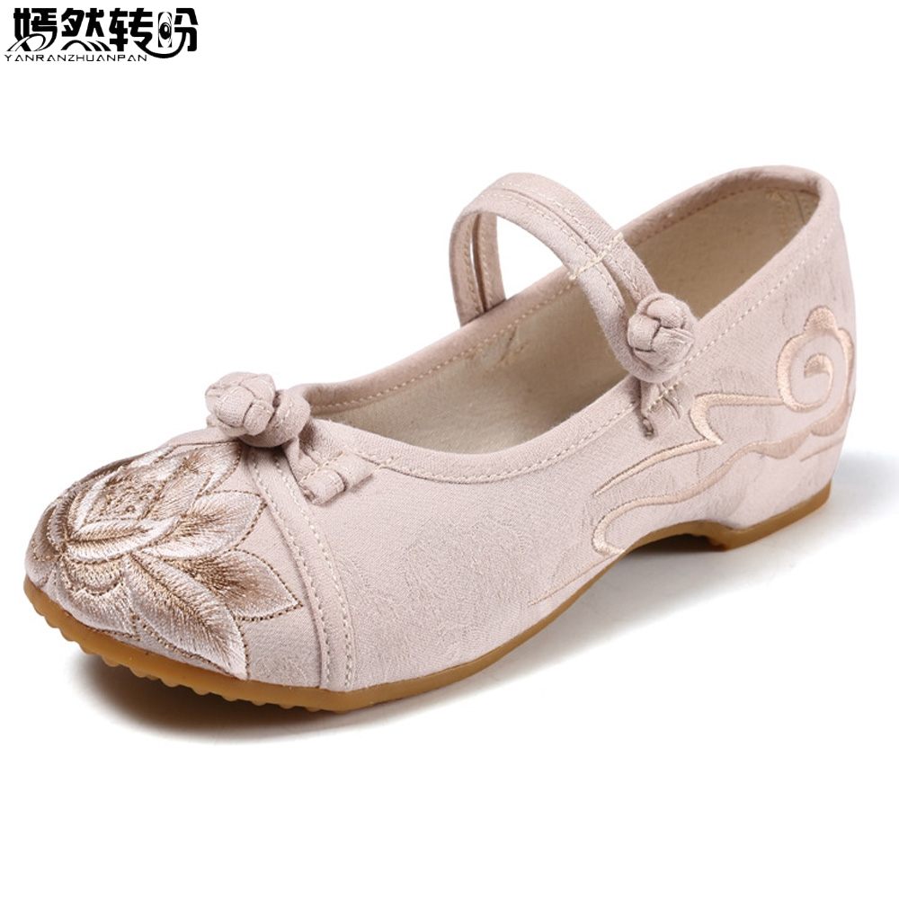ardoisé Toile Dames Top rose Low Janes Patchwork Chaussures Foe Confortable Chinois Nouveau Lotus Mary Beige Appartements 2018 Coton Tissu Broderie Femmes XwFHpxOTq
