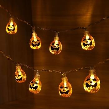 Hanging Halloween Pumpkin Lantern 3D Plastic String Light 20 LED Orange Pumpkin Lights Halloween Holiday Decor Battery Operated brand new 1 2m 10 bulbs pumpkin battery string led lights halloween holiday light lighting decoration led