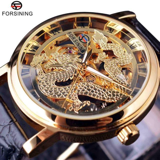 f1cbf7d226cb Forsining китайский дракон Скелет дизайн прозрачный чехол Механические Мужские  наручные часы золотые часы мужские часы лучший