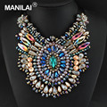 Multi Color Bib Necklace with Crystal Shrouded Cotton String Tied Unique Style Luxury Jewelry Glamour Bib Choker #2970
