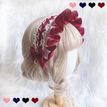 Bonnet Lolita fait à la main, tête de tête en dentelle