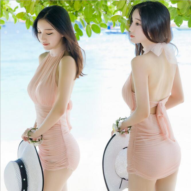Swimsuit Woman One Piece Halter Mesh Steel With Chest Pad A Hole Bathing Suit Push Up Female Swimwear banador mujer una piezaY79