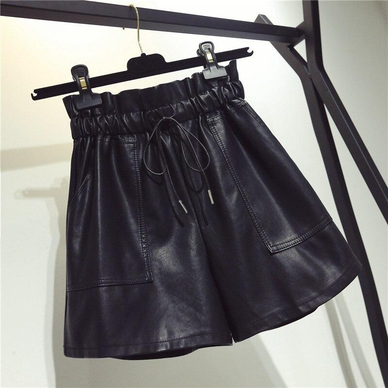 Shorts Autumn Wear Korean-Boots Wide-Legs High-Waist Winter Casual And Pu Loose