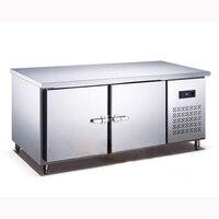 250L Kitchen Stainless Steel Under Counter Refrigerator Wardrobe Work Plan Commercial Refrigerator Freezer 1.5 M Leng
