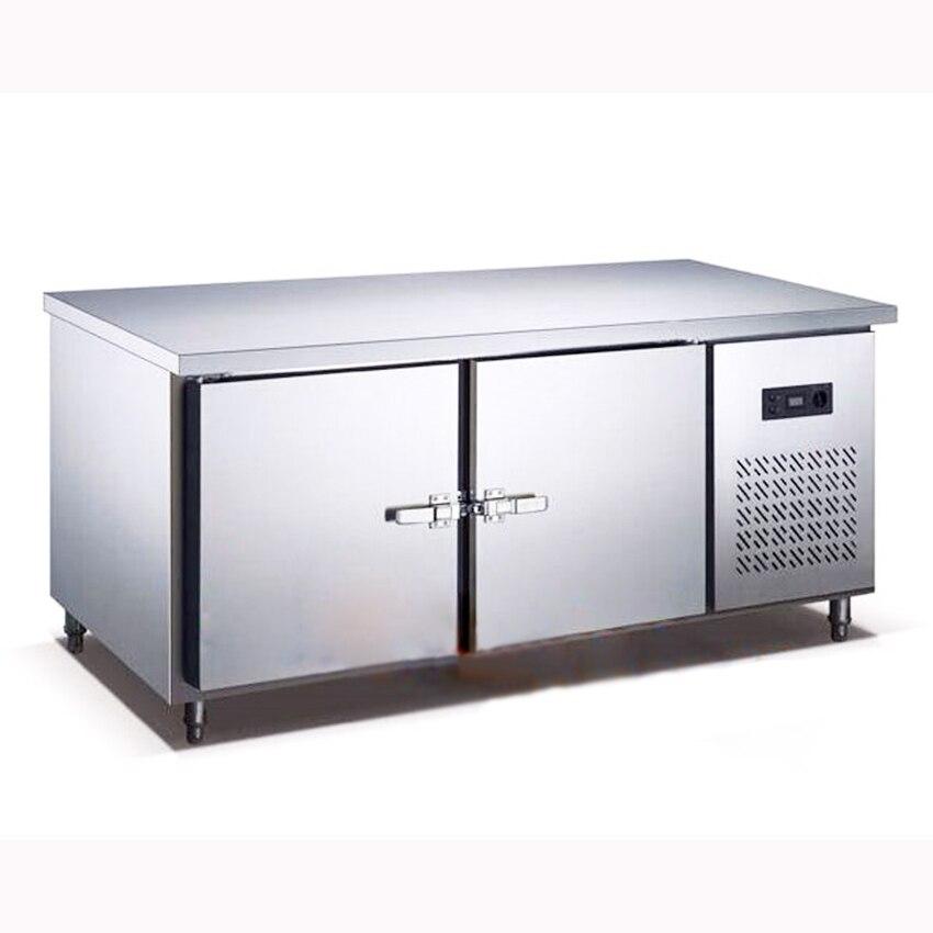 Refrigerador de cocina de acero inoxidable de 250L, frigorífico debajo del mostrador, armario, Plan de trabajo, refrigerador comercial, congelador, 1,5 M Leng