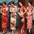 2016 winter red traditional chinese women's satin polyester long cheong sam qipao evening dress flower