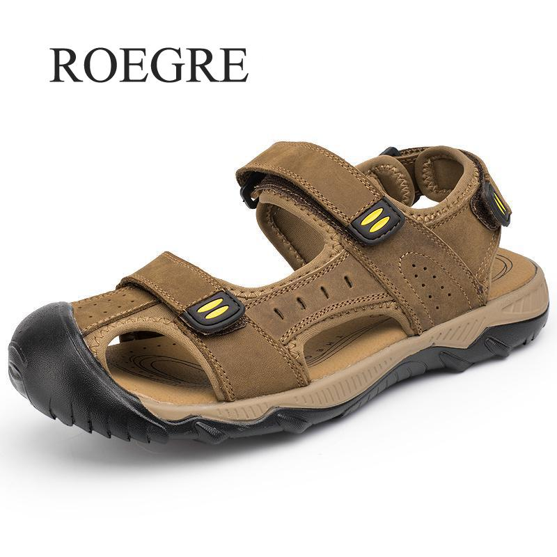 ROEGRE Summer Casual Male Shoes Fashion Leisure Beach Men Shoes Leather Sandals The Big Yards Men's Sandals Plus Size 38-48 summer casual men s shoes fashion leisure beach men shoes high quality leather sandals the big yards men s sandals big size38 48