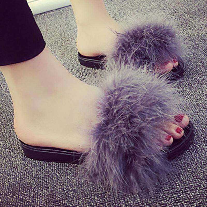 5978f8cfe61 2017 Hot Selling Fashion Women Fur Fluffy Marabou Mules Slip On ...