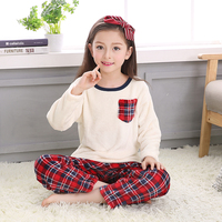 New Children Coral Fleece Sleepwear Homewear Pajamas Unisex Plaid Flannel Pajama Set Winter Autumn Warm Bathrobe