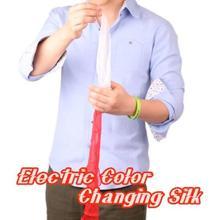 Электрический Цвет изменение шелка Волшебные трюки маг шарф устройства преобразования Magie этап Иллюзия уловок реквизит ментализм комедии