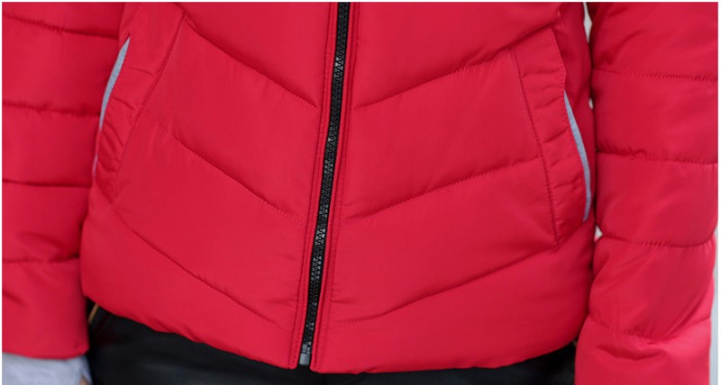 Winter Jacket Women Parkas Thicken Outerwear solid hooded Coats Short 38