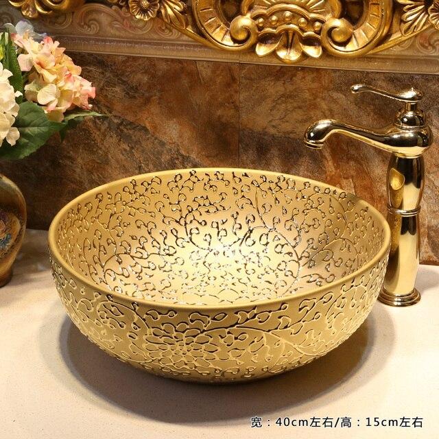 Gold Bathroom Cloakroom Europe Art Wash Basin Ceramic Vessel Counter Top Sink