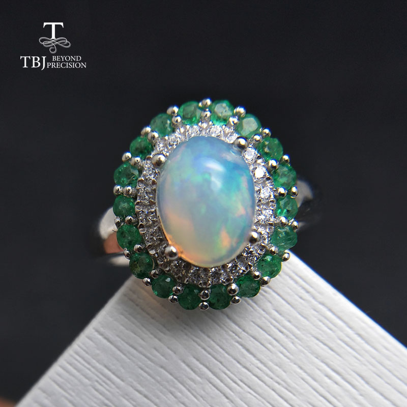 TBJ, 100% Natural Ethiopian Rainbow Opal And Emerald Rings Engagement Ring In 925 Sterling Silver Gemstone Jewelry Women Wedding