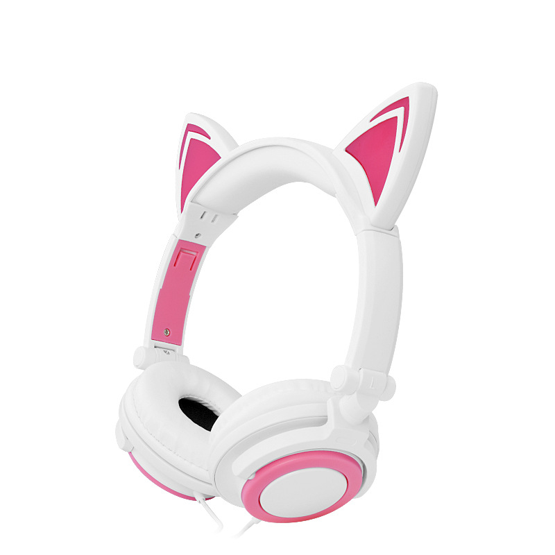 Cute personality cat ears wired headband headset hair head wear LED headphone for Girls Kids large 24x24 cm simulation white cat with yellow head cat model lifelike big head squatting cat model decoration t187