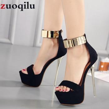d50be5dd 16 CM de alto tacón plataforma boda zapatos de las mujeres zapatos de tacón  alto zapatos de mujer sexy negro tacones altos vestido de fiesta zapatos de  ...