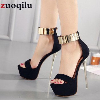 e09236e1 16 CM tacones altos plataforma boda fiesta zapatos mujeres tacones altos  señoras zapatos sexy negro tacones altos vestido fiesta bombas zapatos de  mujer ...