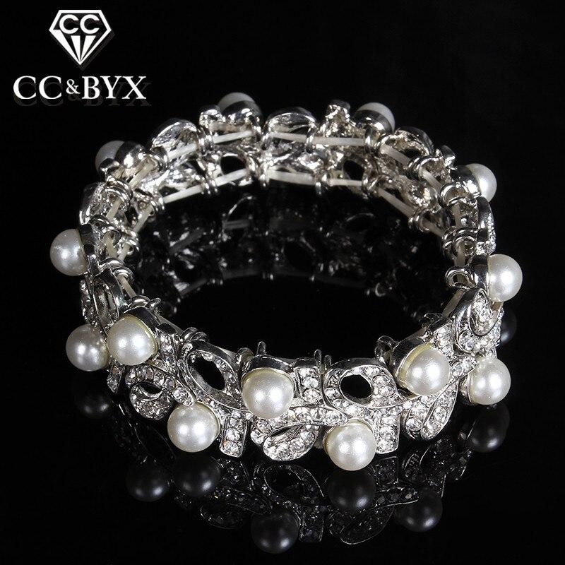 a61b61faddf Simulado de pérolas de cristal austríaco do vintage pulseira pulseiras para  as mulheres da festa de casamento de moda presente da jóia de luxo bijoux  E010