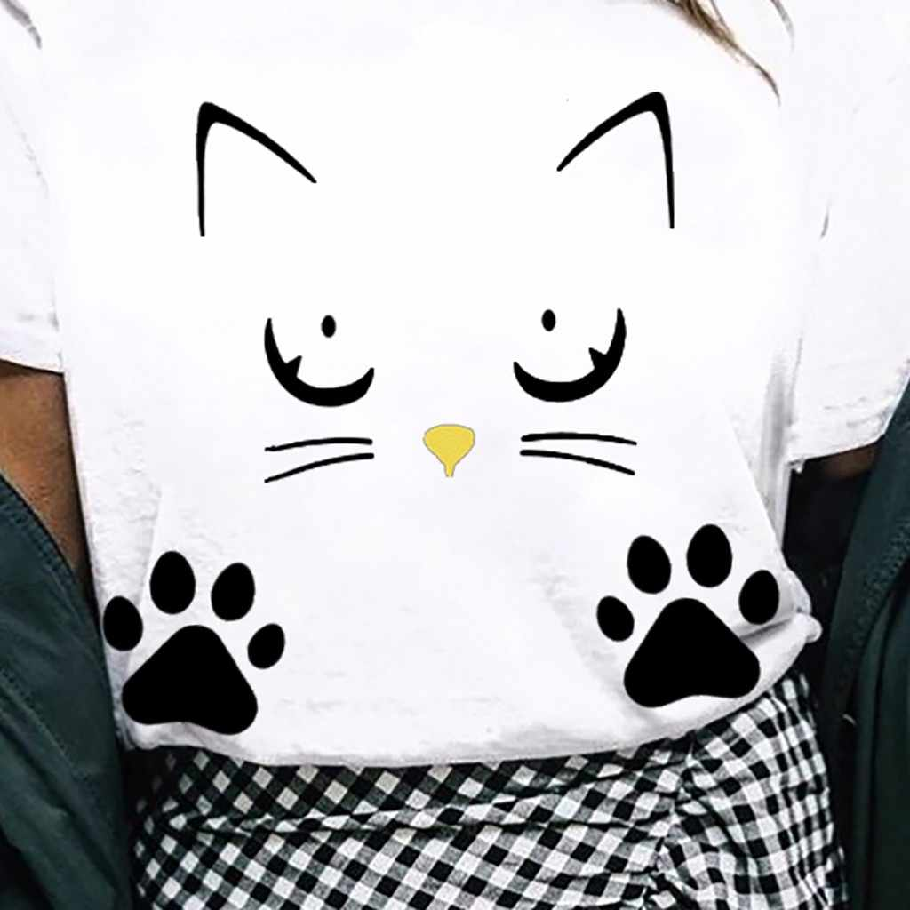 2019 Più Il Formato S-4XL di Estate di Modo del Gatto di Stampa Allentato T-Shirt da Donna O-Neck Tee Magliette e camicette Delle Signore Della Camicia Casual Manica Corta Femminile blusas