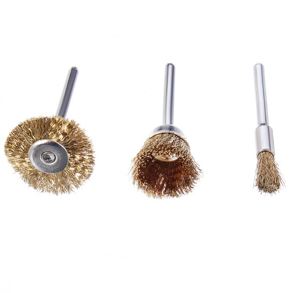 3pcs Wire Brass Brush Brushes Wheel Dremel Accessories For Rotary Tools Die Grinder & Totary Machine Tools 23mm/17mm/5mm