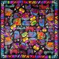 100% Bufanda de Seda Bufanda de Las Mujeres Gatos Pañuelo Bandana 2017 Foulard de Seda Pequeña Bufanda de Seda Cuadrada Bufanda Del Diseñador Señora de Lujo de Regalo