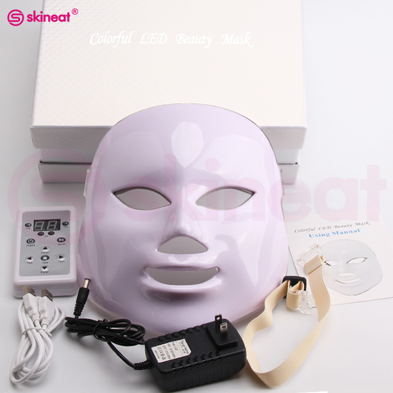 Skineat 7 Color LED Mask Facial Care Anti-Wrinkle Machine Acne Removal Beauty Spa Device Skin Rejuvenation White Face Masker