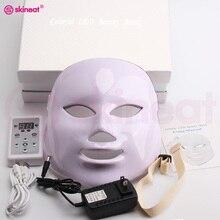 Skineat 7 צבע LED מסכת טיפול פנים מכונת נגד קמטים הסרת אקנה התחדשות עור מכשיר ספא יופי פנים לבנים Masker