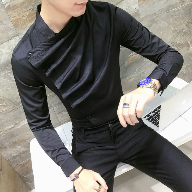 Autumn Men Shirt Fashion 2019 Korean Slim Fit Dress Shirts Mens Long Sleeve Front Fold Design Night Club Tuxedo Shirt Men 3XL-M 4