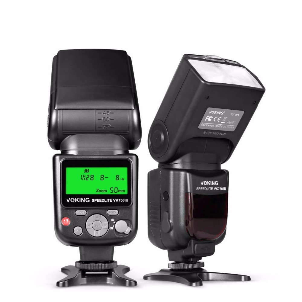 Voking 750III Remote TTL Speedlite Slave Mode Flash with LCD Display for Canon DSLR Stan ...