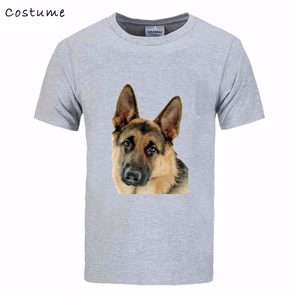 Free Shipping Men German shepherd tshirt fashion 2018 painted design T-shirt male Cotton ...