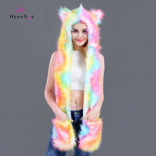 8828469f025 New Colorful Faux Fur Animal Hat Women Party Favor Beanies Cap Winter Fur  Hat With Long