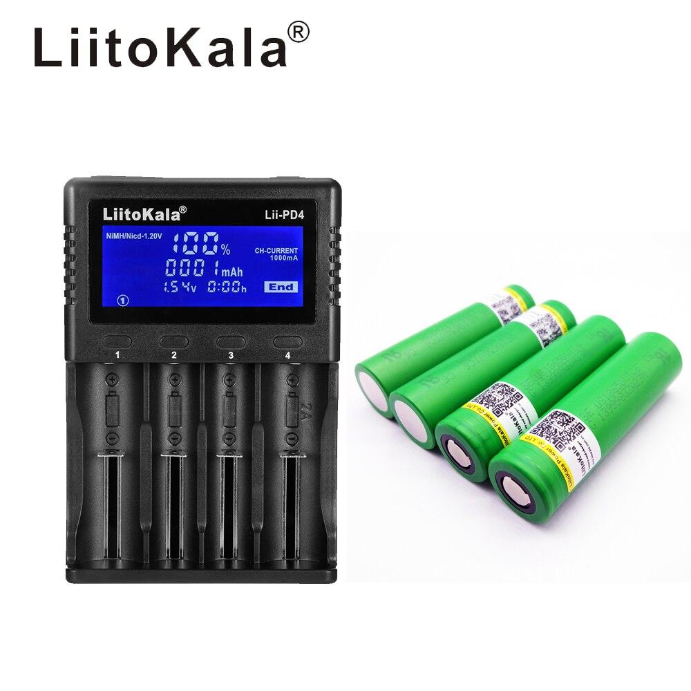 1 pièces LiitoKala lii-PD4 LCD 3.7 V 18650 21700 chargeur de batterie + 4 pièces 18650 3000 VTC6 30A cigarette Électronique jouets outils lampe de poche