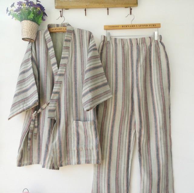 dada9c71a3 Japanese Men s Kimono Traditional Yukata Style 100% Cotton Summer Japanese  Pajamas Home shirt   pants
