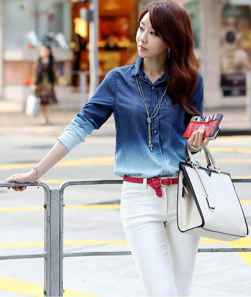 36564be36a1 Blusas Femininas 2015 New Denim Shirt Blusinhas Camisa Jeans Feminina Blusa  De Renda Cardigan Women Jeans Shirt Plus Size Blouse-in Blouses   Shirts  from ...