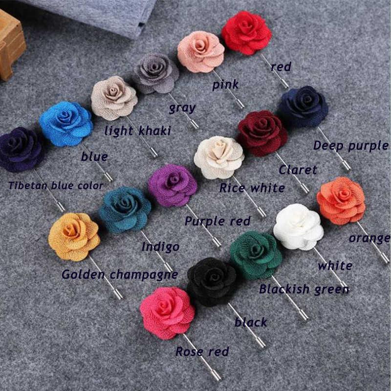 26 Warna Kualitas Tinggi Camellia Bunga Lapel Pin Bros Buatan Tangan untuk Wanita Romantis Pernikahan Bridesmaid Pesta Bouquet Bros Pin